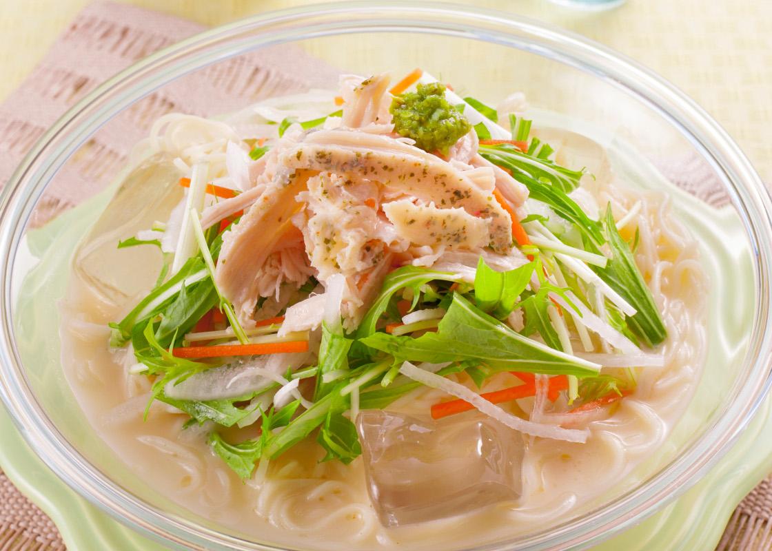 水菜サラダのゆずこしょう風味ラーメン