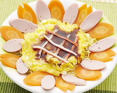 半熟卵で鮮やかひまわり麺