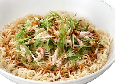 チキンと水菜の冷やし中華風みそラーメン