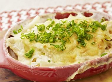 チーズたっぷり。長芋の麺グラタン