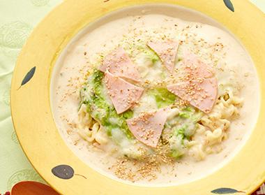 ハムと白菜重ねの中華クリーム麺